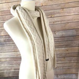 J. Crew cable knit warm winter scarf creamy white